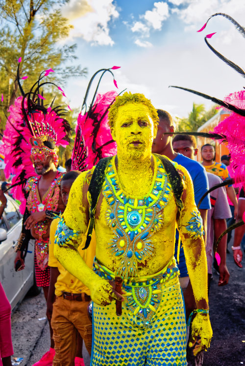 junkanoo costume skin paint yellow carnival